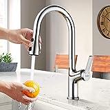 Synlyn Küche Wasserhahn, Küchenarmatur mit Brause , 360° Drehbar Chrom Spültischarmatur Messing...