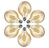 MENTA Glühbirne Globe Vintage G80 E27 6W LED Retro Lampe Soft Spiral Filament Dekorative Glühbirne...