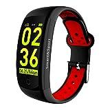 SP Smartwatch für Damen & Herren - wasserdichte (IP68) Fitnessuhr (rot-schwarz) mit...