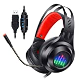 Unbekannt PC Gaming Headset, 7.1 Kanal PS4 Headset Noise-Cancelling...