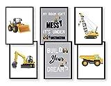 WIETRE® 6er Set Bilder Baufahrzeuge Bagger Kran Kinderzimmer Deko | Bild Junge Babyzimmer Poster...
