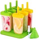TOPELEK Eisformen 6 Eisformen Popsicle Formen Set, EIS am Stiel Bereiter, LFGB Geprft und BPA Frei,...