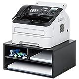 FITUEYES Druckerhalter Holz Schwarz mit 3 Fächern Schreibtisch Organizer für Büro und Zuhause...