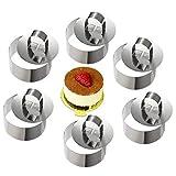 ONEDONE Mousse Ringe Tortenring Edelstahl Kuchenform mit Schieber, 8cm Durchmesser, 6 Stück (Runde)