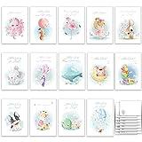 Geburtstagskarte Glückwunschkarten Set mit 14 Geburtstagskarten Klappkarten mit Umschlägen zarte...