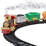 Yorimi Elektrischer Dampfzug Spielzeug Eisenbahn Spielzeug Autos Rennbahn mit Kutsche Sound und...