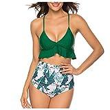 Damen Badeanzug Zweiteiliger Rückenlos Bikini Set Mit High Waist Bikinihose Blumen Blatt Druck...