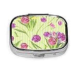Pillenbox, Frühlingsblumen Personalisierte rechteckige Pillenetui Halter Dekorative Box Pocket...