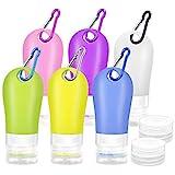 Gifort Silikon Reiseflaschen Set, 6 Stück 60ml und Wiederverwendbar, Reisebehälter für Shampoo...