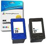 Printing Pleasure 2X Tintenpatronen kompatibel zu HP 27 & HP 28 für Deskjet 3320 3420 3550 3650...