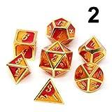 CCChaRLes 7 Stücke Mischfarbe Polyhedral Würfel Metall Rpg Würfel Set Mit Samt Tasche Dungeons...