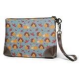 Asa Dutt528251 Damen Leder Wristlet Clutch Brieftasche Thanksgiving Day Truthahn Kürbis...