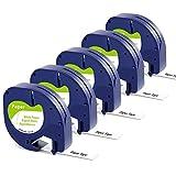 Markurlife kompatible Etikettenband als Ersatz für Dymo LetraTag 12mm x 4m Paper White 91220...