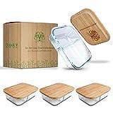 Pura Vida - Glas Frischhaltedosen - 3 x Size L - 1040 ml - 2 Kammern zur getrennten Aufbewahrung von...