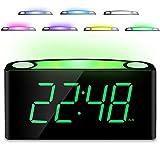 Mesqool Digitaler LED-Wecker, 12/24 H, 7 Farben, Nachtlicht, großes 17,8 cm Display,...