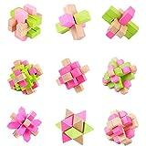 3D-Puzzles aus Holz Classic Cube Genius Puzzle und Rätsel, Set von 9 Alten China Kongming Luban...