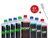 BIOHY Profi Reinigungsmittel-Komplett-Set mit Dosierer (8 x 1 L) | Bad-, Fenster- und Bodenreiniger...