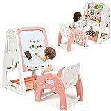 GOPLUS 2-in-1 Kindertafel, Kinderschreibtisch mit Stuhl, Höhenverstellbares Whiteboard,...