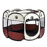 Non-brand Pet Folding Laufstall Tragbare 8 Panel Zwinger Zäune Zelt Wasserdicht Weich - Brown_S