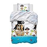 Aminata Kids Kinderbettwäsche 135x200 Pirat Piraten-Motiv Junge - Baumwolle blau, weiß - mit...