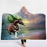 WPHRL Erwachsene Kinder Decke Mit Kapuze Tierpferd unter dem sternenklaren Himmel 3D Plüsch Umhang...