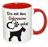 crealuxe Die mit dem Schnauzer geht - Kaffeetasse mit Motiv, bedruckte Tasse mit Sprüchen oder...