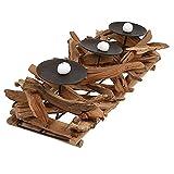 Ljqing Kerzenhalter Rustikaler Holz-Metall-Kerzenhalter mit rustikalem Holztablett Kerzenhalter für...