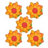 FRCOLOR 5 Stück Schwimmende Lotus Laterne Schwimmkerzen Kerzenlicht Künstliche Lotusblume Orange...