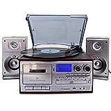 Bluetooth Viny Plattenspieler Plattenspieler, CD, Kassette, AM/FM-Radio und Aux-In mit USB-Anschluss...