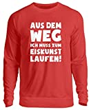 shirt-o-magic Eislaufen: Muss Eiskunstlaufen - Unisex Pullover -3XL-Feuerrot