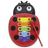 Brain Game Gowsch 5 Ton Xylophon mit Klavierschlägel Handheld Piano Spielzeug Marienkäfer Knocking...