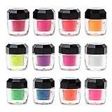 zhiwenCZW 12 Farbe Neon Pigment Pulver Schwarzlicht UV-reaktiv Fluoreszierendes Pigment Make-up Nail...