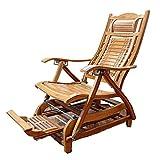 XIAOR Einstellung Bambus Liegestuhl Klappbare Sonnenliege Fußmassage Mittagspause Schaukel Liegen...