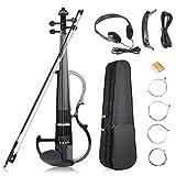 Vangoa Elektrische Violine Geige aus massivem Holz, 4/4, mit Ebenholzbeschlägen, Tragetasche,...