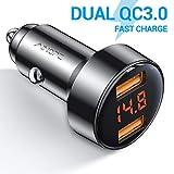 AINOPE Auto Ladegert, [Dual QC3.0] 36W/6A Zigarettenanznder USB Ladegert Metal Stromspannung Anzeige...