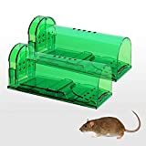 KINGEE 2 Stücke Lebendfalle Mausefalle Lebend Rattenfalle Tierfalle Set, Mäuse Fangen Für Garten...