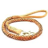 Hundeleine Erstklassiges gelbes Leder Mehrstrangweben Gute Flexibilität Geeignet für große und...