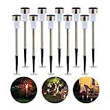 Relaxdays Solarleuchte im 10er Set, wasserdichte LED Solarlampen, für Garten & Terrasse, weißes...