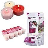 Smart-Planet® Kerzen Ambiente - 60 Stück Duft Teelichter Teelicht Set im Spender Wildkirsche -...