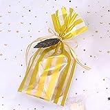 JIAAN Süßigkeiten Taschen 50 Stück Bodenbeutel Schneeflocken Gold Zellglastüten mit Gold Band...