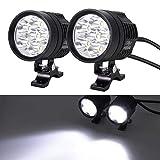Justech 2 x 6W Motorrad Scheinwerfer mit Schalter Netzkabel Motorrad vorne Scheinwerfer LED...