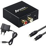AMANKA Audio Konverter Wandler Digital, Toslink und Koaxial zu Analog (Cinch und 3,5mm Klinke) mit...