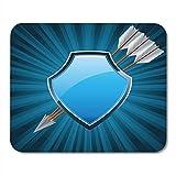 Mauspads Metallwappen Sicherheitsschild der Arme Symbol Mit Pfeilen verziert Blaues Glas Abzeichen...