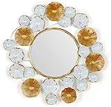 HZYDD Einfacher Europäischer Stil Runder Spiegel Wohnzimmer Lotus Blatt Bordüre Wandspiegel...