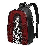 VJSDIUD Creepypasta Laptop Reiserucksäcke Convertible Durable Work Bag Bookbag Daypack mit USB...