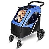 amzdeal Hundewagen, Faltbarer Hundebuggy mit 4 flexiblen Eva-Rädern und Verstellbarer Griff, Pet...