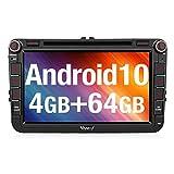 Vanku Android 10 Autoradio für VW Radio 64GB+4GB mit Navi DVD Player Unterstützt Qualcomm...