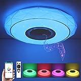 SHILOOK Led Deckenleuchte mit Bluetooth Lautsprecher, Dimmbar Deckenlampe Farbwechsel mit...