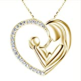 LICHENGTAI Muttertag Halskette Personalisiert, Herz Kette Damen Halskette, Tochter, Kupfer Zirkon...