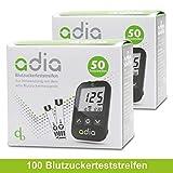 adia Blutzuckerteststreifen, 100 Stück, für das adia Blutzuckermessgerät – zur Kontrolle des...
